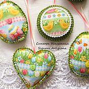 Подарки к праздникам handmade. Livemaster - original item Set of felt and fabric 3pcs. Flowers, bunnies, Chicks Easter Spring. Handmade.