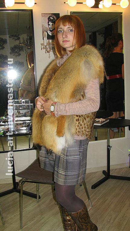 Жилеты ручной работы. Ярмарка Мастеров - ручная работа. Купить жилет из лисы и липпи. Handmade. Меховой жилет, подарок женщине