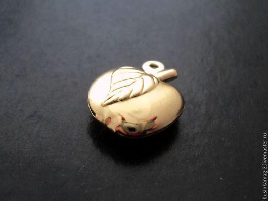 Для украшений ручной работы. Ярмарка Мастеров - ручная работа. Купить Подвеска двусторонняя яблоко 14мм, позолота. Handmade.