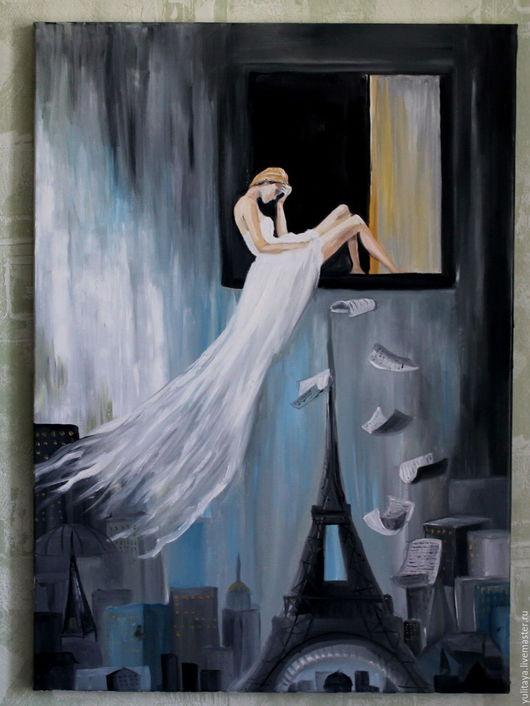 Город ручной работы. Ярмарка Мастеров - ручная работа. Купить картина маслом  70Х50,Поэзия Парижа. Handmade. Париж, серый