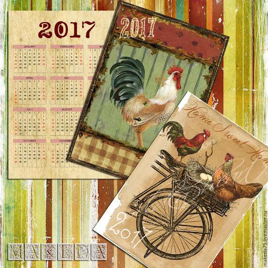 """Новый год 2017 ручной работы. Ярмарка Мастеров - ручная работа. Купить Карманный календарик """"Винтажный Петушок"""". Handmade. Комбинированный, петух"""