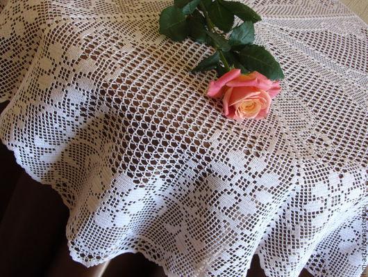 """Текстиль, ковры ручной работы. Ярмарка Мастеров - ручная работа. Купить Скатерть - салфетка """"Цветочный вальс"""" ручной вязки.. Handmade."""