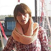Аксессуары ручной работы. Ярмарка Мастеров - ручная работа Комплект вязаный шарф-снуд и митенки. Handmade.