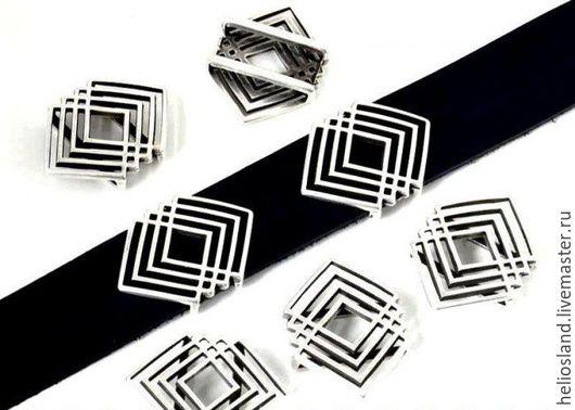Для украшений ручной работы. Ярмарка Мастеров - ручная работа. Купить Бусина  для плоских шнуров 20 мм. Handmade. Серебряный