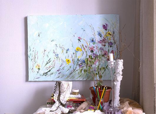 Картина поле Голубая картина полевые цветы Картина на кухню бирюзовый рельефная живопись пастозная картина Маткина Пермь
