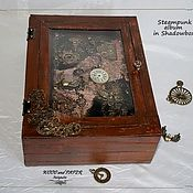 "Канцелярские товары ручной работы. Ярмарка Мастеров - ручная работа Фотоальбом ""Steampunker""  в Shadow box. Handmade."