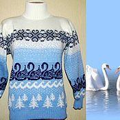 Одежда handmade. Livemaster - original item Women`s sweater with Norwegian ornament Swan lake. Handmade.