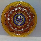 Фен-шуй и эзотерика handmade. Livemaster - original item Decorative plate wall panels of Stained glass Mandala manipura. Handmade.
