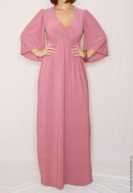 Платья ручной работы. Ярмарка Мастеров - ручная работа. Купить Длинное платье кимоно, розовое платье в пол, пыльная роза. Handmade.