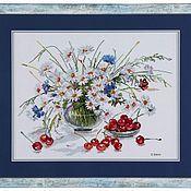 """Картины и панно ручной работы. Ярмарка Мастеров - ручная работа """"Ромашки с черешней"""". Handmade."""