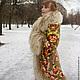 """Верхняя одежда ручной работы. Зимнее пальто """"Машенька и медведи"""". Алёна. Ярмарка Мастеров. Цветочный, павловопосадский платок, пальто из платка"""