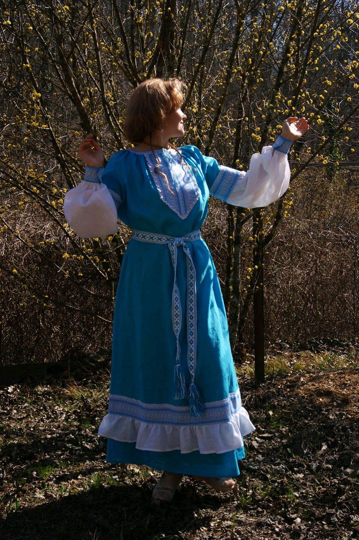 Славянское платье с тканым поясом Воздушное, Народные платья, Геленджик,  Фото №1