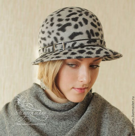 Шляпы ручной работы. Ярмарка Мастеров - ручная работа. Купить Классическая  велюровая шляпа Дамский каприз  цвет серо-чёрный леопа. Handmade.