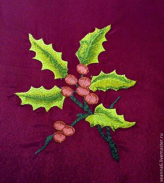 """Картины цветов ручной работы. Ярмарка Мастеров - ручная работа. Купить Вышивка на одежде, аппликация, картинка """"Остролист рождественский"""". Handmade."""