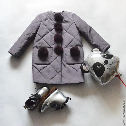 Одежда для девочек, ручной работы. Ярмарка Мастеров - ручная работа. Купить Детское пальто. Handmade. Тёмно-фиолетовый, утепленное пальто