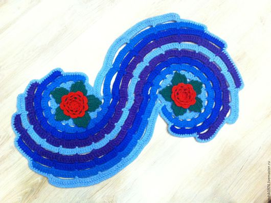 """Текстиль, ковры ручной работы. Ярмарка Мастеров - ручная работа. Купить Коврик """"Морская волна"""". Handmade. Комбинированный, коврик крючком"""
