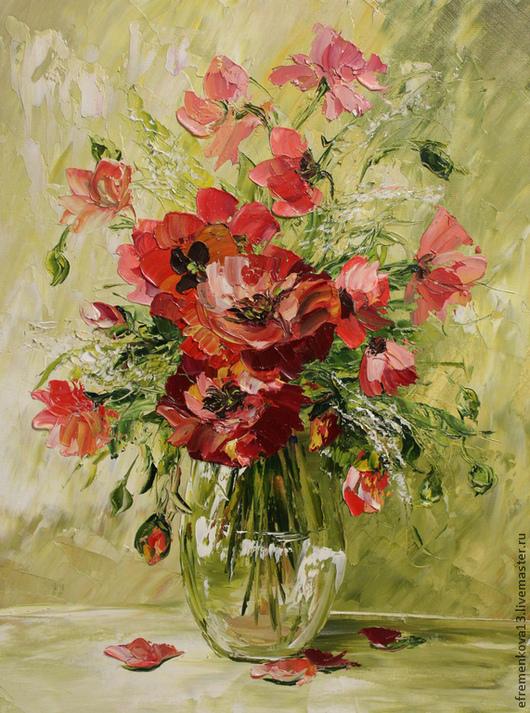 """Картины цветов ручной работы. Ярмарка Мастеров - ручная работа. Купить Картина """"Маковки"""". Handmade. Картина в подарок, букет цветов"""