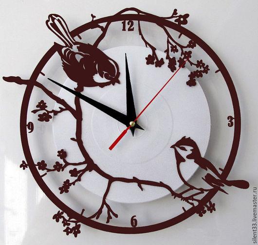 Часы для дома ручной работы. Ярмарка Мастеров - ручная работа. Купить Часы Воробьи на сакуре. Handmade. Настенные часы