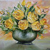 """Картины и панно ручной работы. Ярмарка Мастеров - ручная работа Картина маслом """"Букет из желтых роз."""". Handmade."""