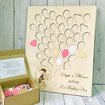 """Свадебный салон ручной работы. Ярмарка Мастеров - ручная работа Панно пожеланий """"Воздушные шарики""""  большое. Handmade."""