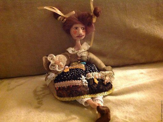 Коллекционные куклы ручной работы. Ярмарка Мастеров - ручная работа. Купить Флора. Handmade. Коричневый, крейзи квилтинг, бусины для украшений