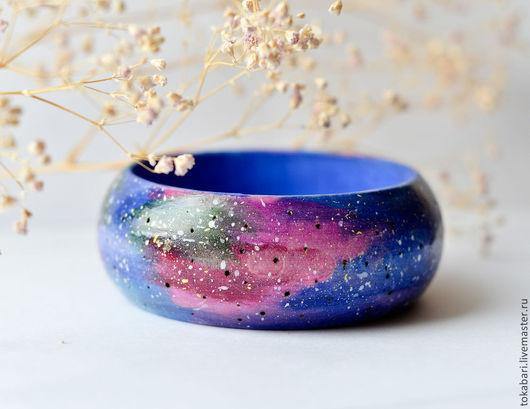 """Браслеты ручной работы. Ярмарка Мастеров - ручная работа. Купить Браслет """"Галактика"""" - пирография, роспись. Handmade. Тёмно-синий, галактика"""