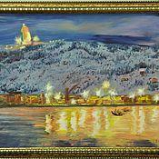 "Pictures handmade. Livemaster - original item Картина маслом пейзаж севера 50/70 ""Огни Кольского залива"". Handmade."