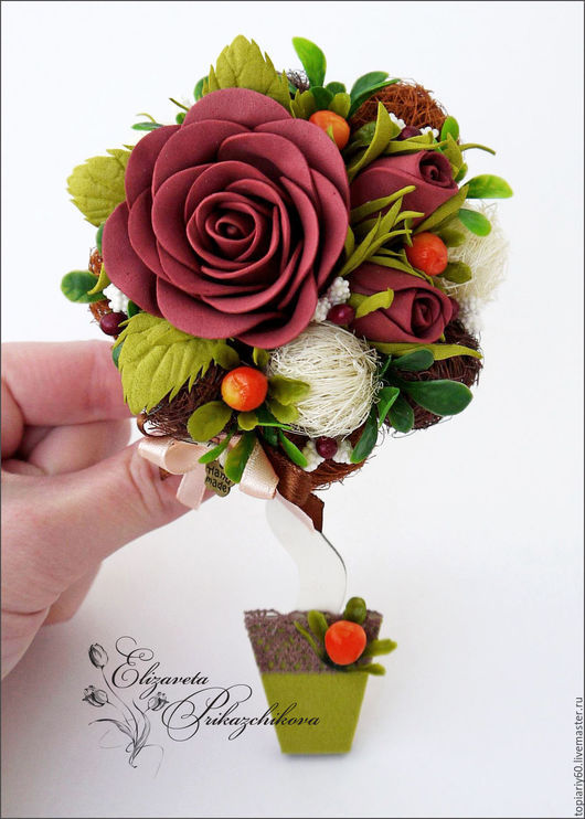 """Магниты ручной работы. Ярмарка Мастеров - ручная работа. Купить Топиарий магнит на холодильник, деревце счастья """"Чайная роза"""".. Handmade."""