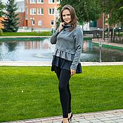 Одежда handmade. Livemaster - original item Blouse with lace and frill gray. Handmade.
