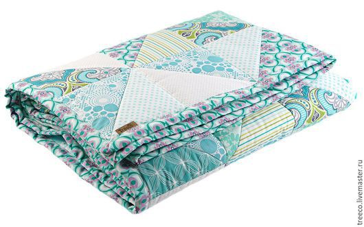 Текстиль, ковры ручной работы. Ярмарка Мастеров - ручная работа. Купить Бирюзово-мятное лоскутное одеяло. Handmade. Мятный