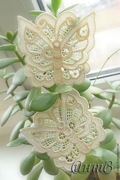 вышивка, аппликация ажурная бабочка цвета шампань на заказ цвет любой