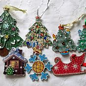 Игрушки-подвески на новогоднюю ёлку. Декупаж объёмный.
