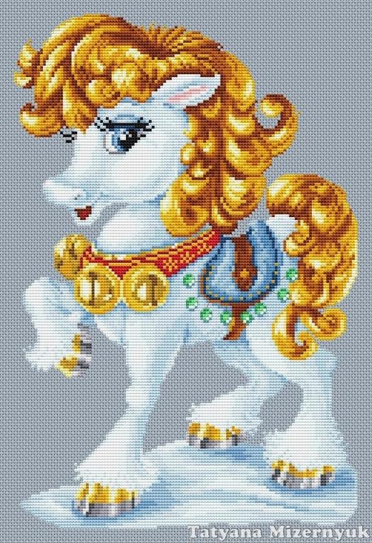 """Вышивка ручной работы. Ярмарка Мастеров - ручная работа. Купить Схема  вышивки крестом """"Златогривая лошадка"""". Handmade. схема для вышивки"""