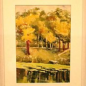 """Картины и панно ручной работы. Ярмарка Мастеров - ручная работа акварель """" В парке"""". Handmade."""