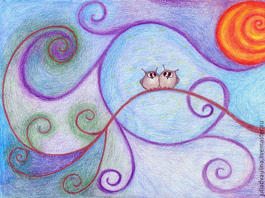 """Фантазийные сюжеты ручной работы. Ярмарка Мастеров - ручная работа. Купить Картина """"Совушки"""". Handmade. Рисунок, подарок, подарок девушке"""
