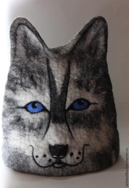 """Банные принадлежности ручной работы. Ярмарка Мастеров - ручная работа. Купить Банная шапка""""Супер волк""""валяная. Handmade. Серый, баня"""