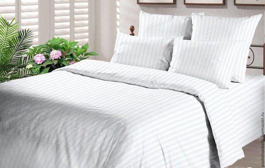 """Текстиль, ковры ручной работы. Ярмарка Мастеров - ручная работа. Купить Комплект """"Белые полоски"""", постельное из поплина (100% хлопок). Handmade."""