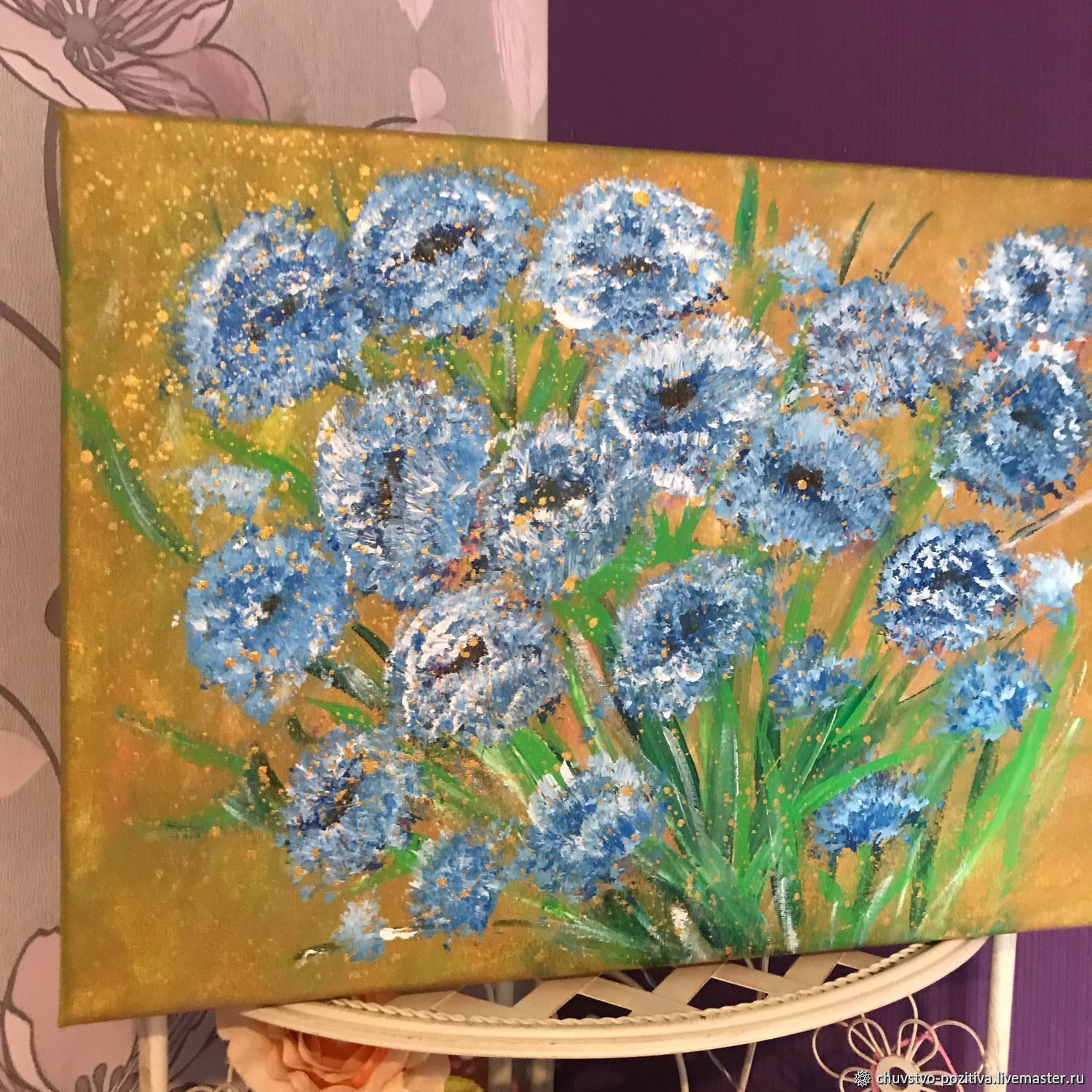 Painting with flowers cornflowers field on a gold background 'Cornflowers' 40h30, Pictures, Volgograd,  Фото №1