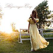 """Одежда ручной работы. Ярмарка Мастеров - ручная работа """"Мелодия""""длинное платье в пол желтый цвет с воланами.Натуральная ткань. Handmade."""
