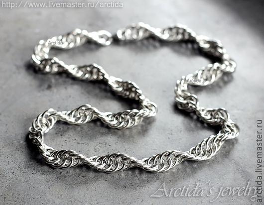 Украшения для мужчин, ручной работы. Ярмарка Мастеров - ручная работа. Купить Мужская цепь, Chainmaille спираль серебро 925. Handmade.