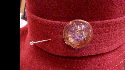 """Броши ручной работы. Ярмарка Мастеров - ручная работа. Купить Булавка """"Летняя галактика"""", лэмпворк. Для шляп и одежды.. Handmade."""