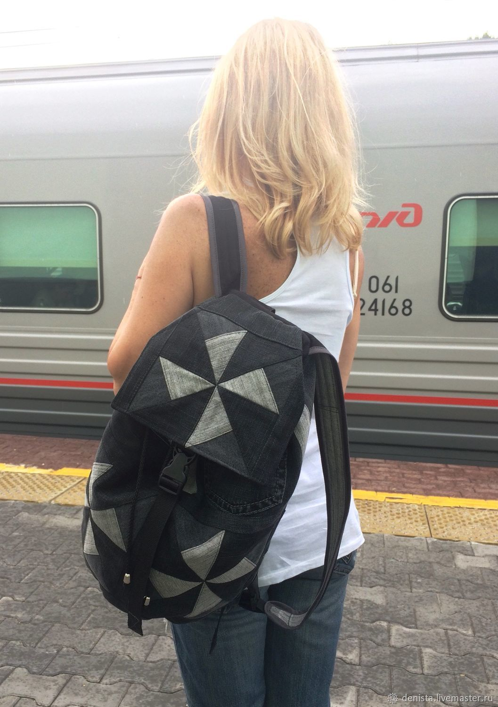 Backpack Triangle Black denim, Backpacks, Saratov,  Фото №1