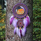 Для дома и интерьера handmade. Livemaster - original item Cat and pumpkin dream catcher with amethyst, 53 cm. Handmade.
