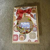 Открытки ручной работы. Ярмарка Мастеров - ручная работа Новогодняя открытка с шейкером в форме елочного шара. Handmade.