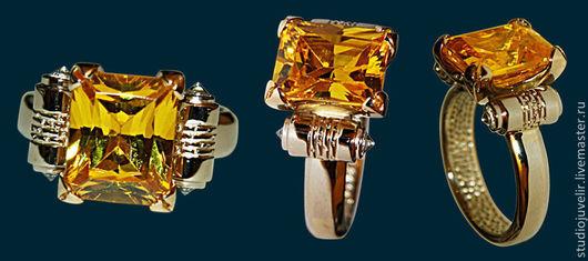 Кольца ручной работы. Ярмарка Мастеров - ручная работа. Купить Золотое кольцо 585 пробы с цитрином и бриллиантами. Handmade. Желтый