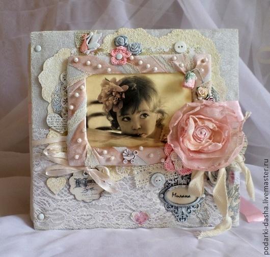 Фотоальбомы ручной работы. Ярмарка Мастеров - ручная работа. Купить Детский фотоальбом в стиле Шебби. Handmade. Белый, фотоальбом детский