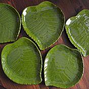 Наборы ручной работы. Ярмарка Мастеров - ручная работа Декоративная тарелка Зелёный лист. Handmade.