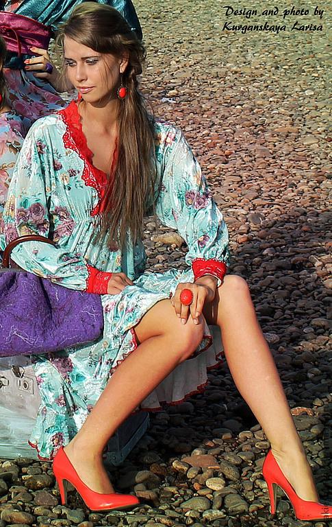 Платья ручной работы. Ярмарка Мастеров - ручная работа. Купить платье БОГЕМА. Handmade. Мятный, бохо стиль, бирюзовый, бисер