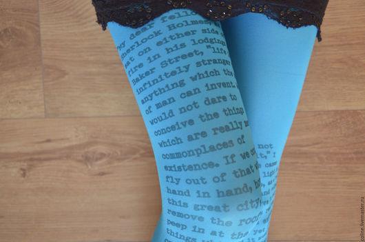 Носки, Чулки ручной работы. Ярмарка Мастеров - ручная работа. Купить Шерлок Холмс, колготки с текстом. Handmade. Колготки, чулки