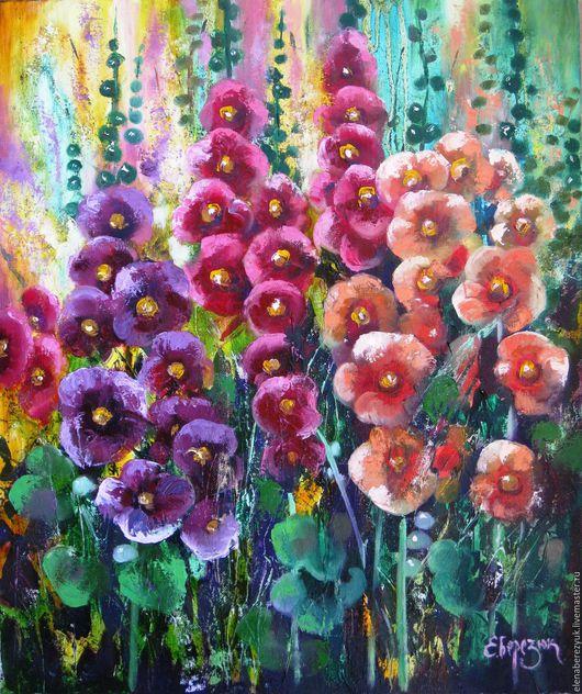 Картины цветов ручной работы. Ярмарка Мастеров - ручная работа. Купить Мальвы - картина маслом на холсте, картина цветов, цветков. Handmade.